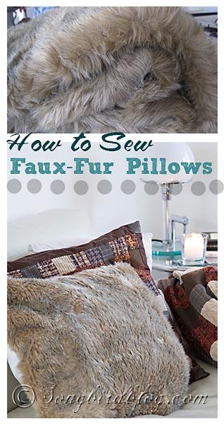 how to sew faux fur pillows via Songbirdblog