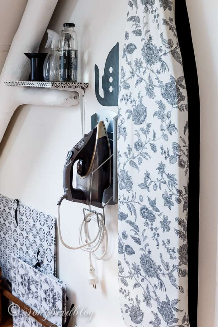 Sewing room organization with an ironing station