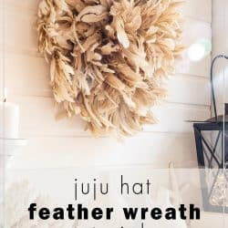 mantel decor with diy feather wreath
