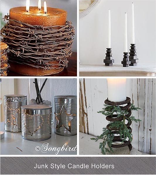 junky style candle holders