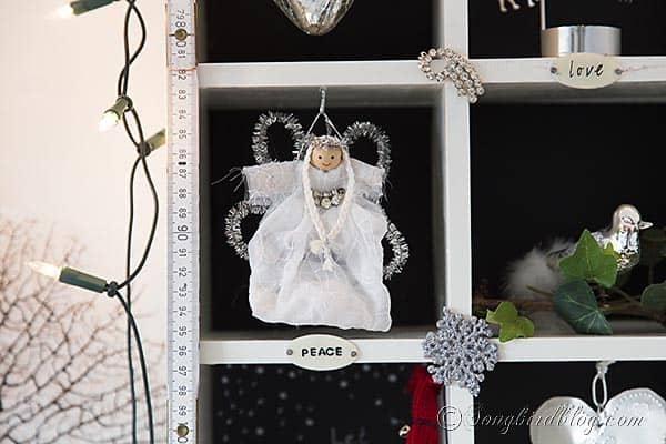 handmade Christmas angel in a vintage Christmas display http://www.songbirdblog.com