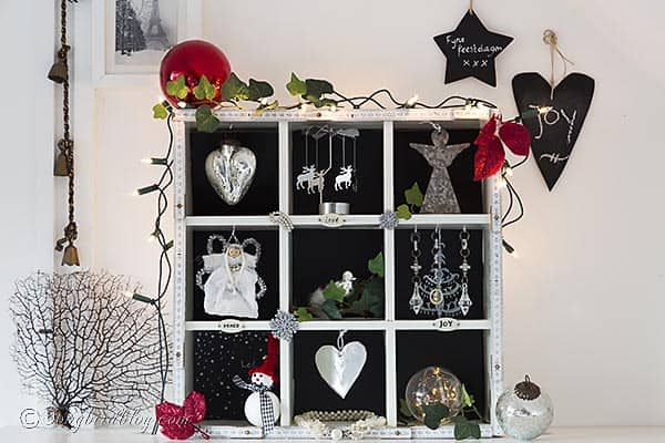 This vintage Christmas display is perfect for showing off your most treasured Christmas decorations. http://www.songbirdblog.com