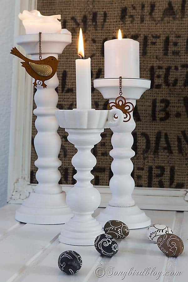 Lamp Makeover: The base of an old thrifted lamp is used to make a lovely wooden candle stick. Via http://www.songbirdblog.com