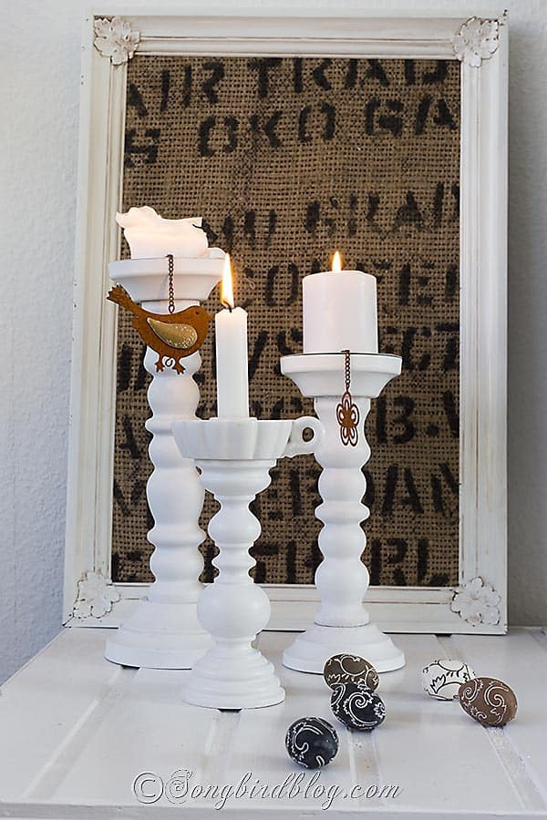 Make a candle stick from a lamp stand. www.songbirdblog.com