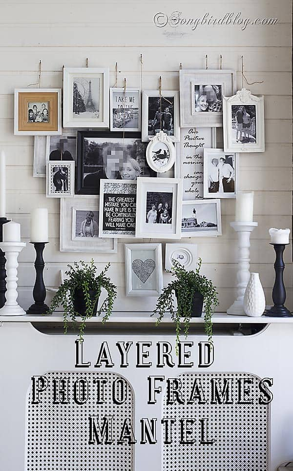 A different gallery wall:  a heart-shaped layered  photo frames mantel decoration. http://www.songbird.blog.com