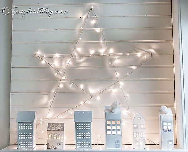 lights houses Christmas mantel 5