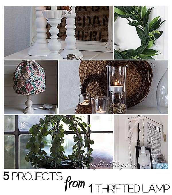 make 5 projects from 1 thrifted lamp