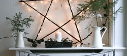natural and rustic Christmas mantel display with woodland elements (2)