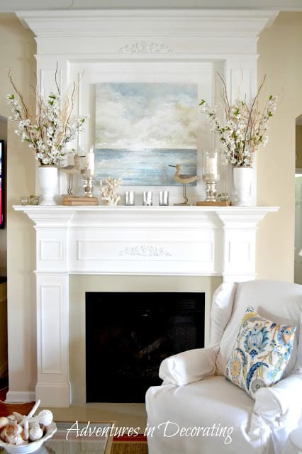 summer mantel with big beach artwork