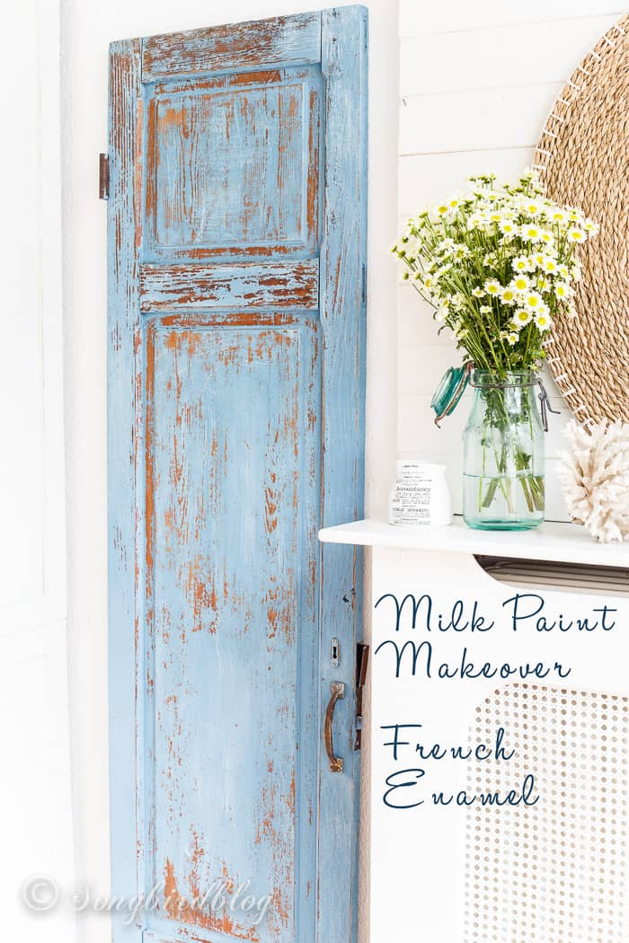 Milk paint door makeover in french enamel. Now this old wardrobe door is the perfect decor in my cottage home.