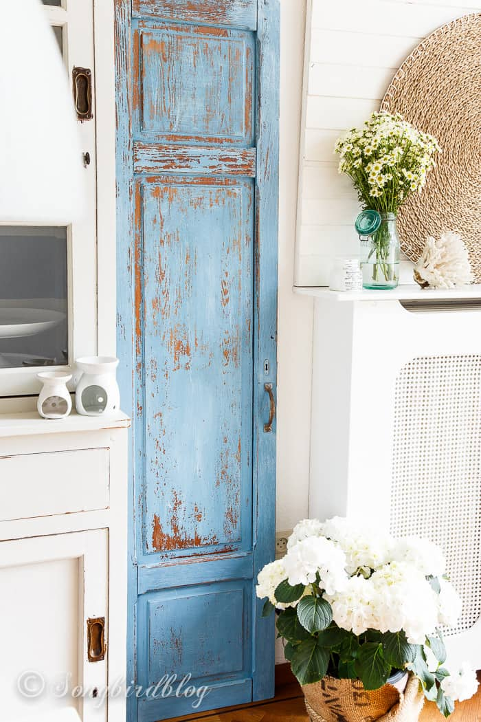 Milk paint door makeover in french enamel.
