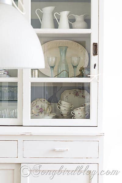 milk paint hutch furniture painting white and grey via Songbirdblog