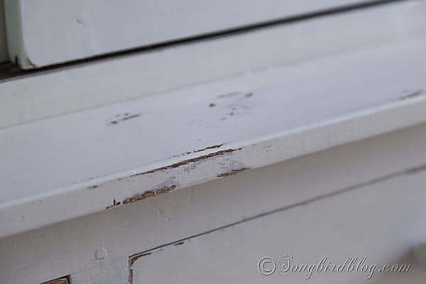 furniture makeover hutch milk paint striped distressed details