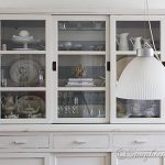 furniture makeover hutch milk paint striped
