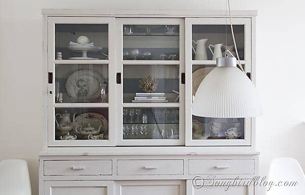 milk paint hutch makeover via Songbirdblog