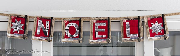 burlap and fabric Noel Christmas banner by http://www.songbirdblog.com