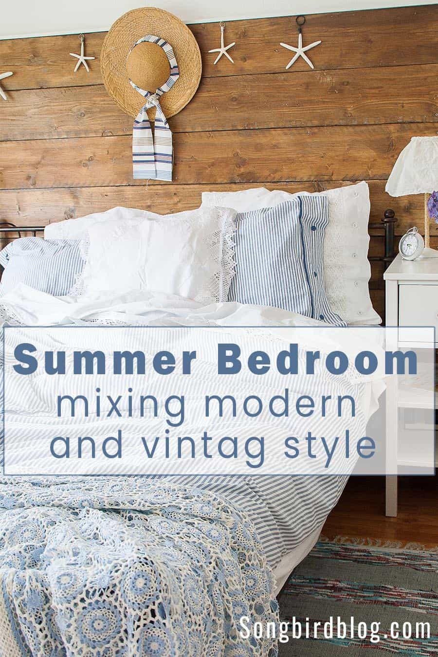 blue and white bedding mix modern and vintage. Vintage crochet bedspread