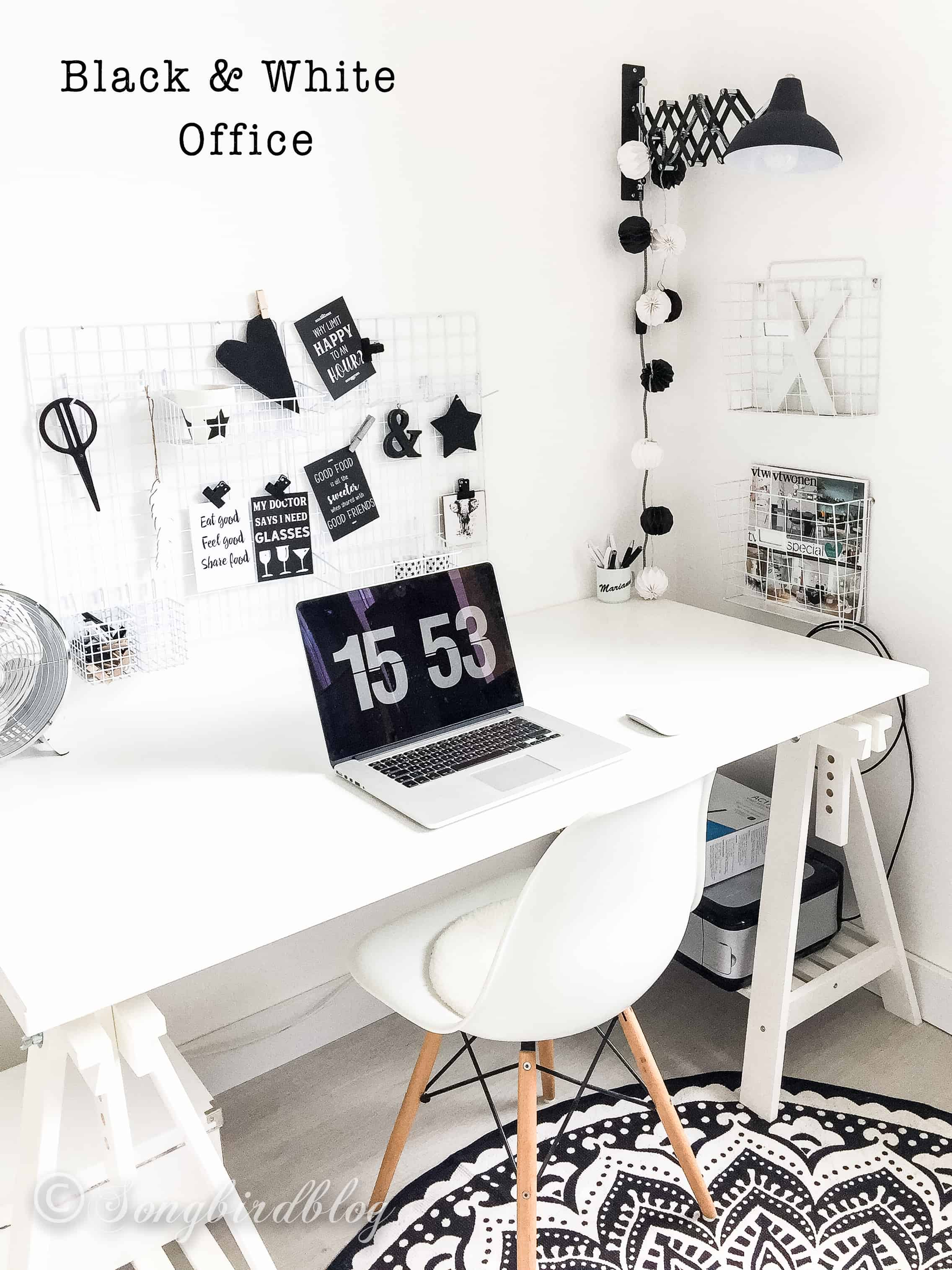 black and white home office decoration