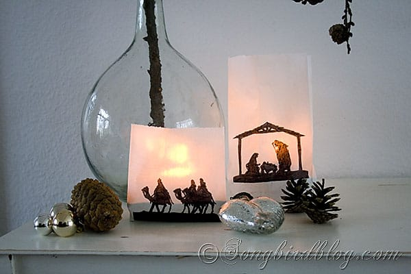Christmas craft paper bags lanterns silhouette nativity (1)