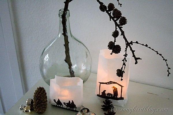 Christmas craft paper bags lanterns silhouette nativity (3)