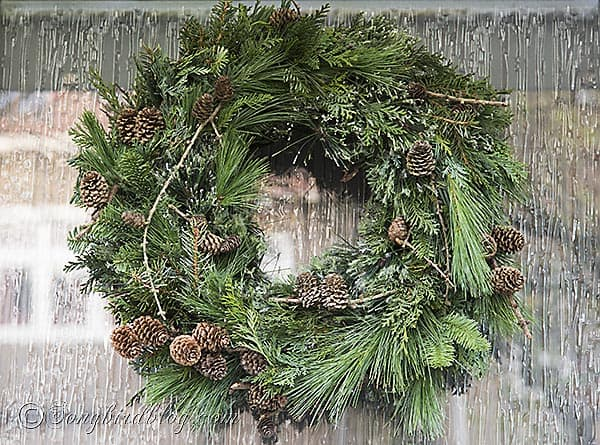 natural, rustic Christmas wreath