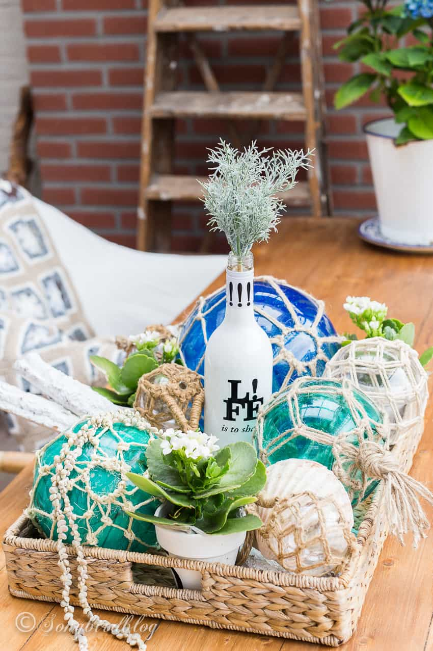 nautical home decor with glass fishing buoys diy