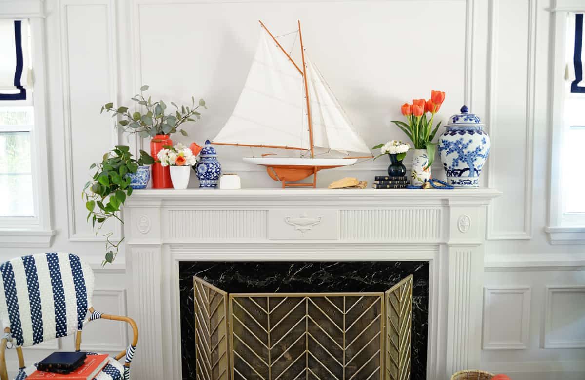 colorful nautical mantel decor