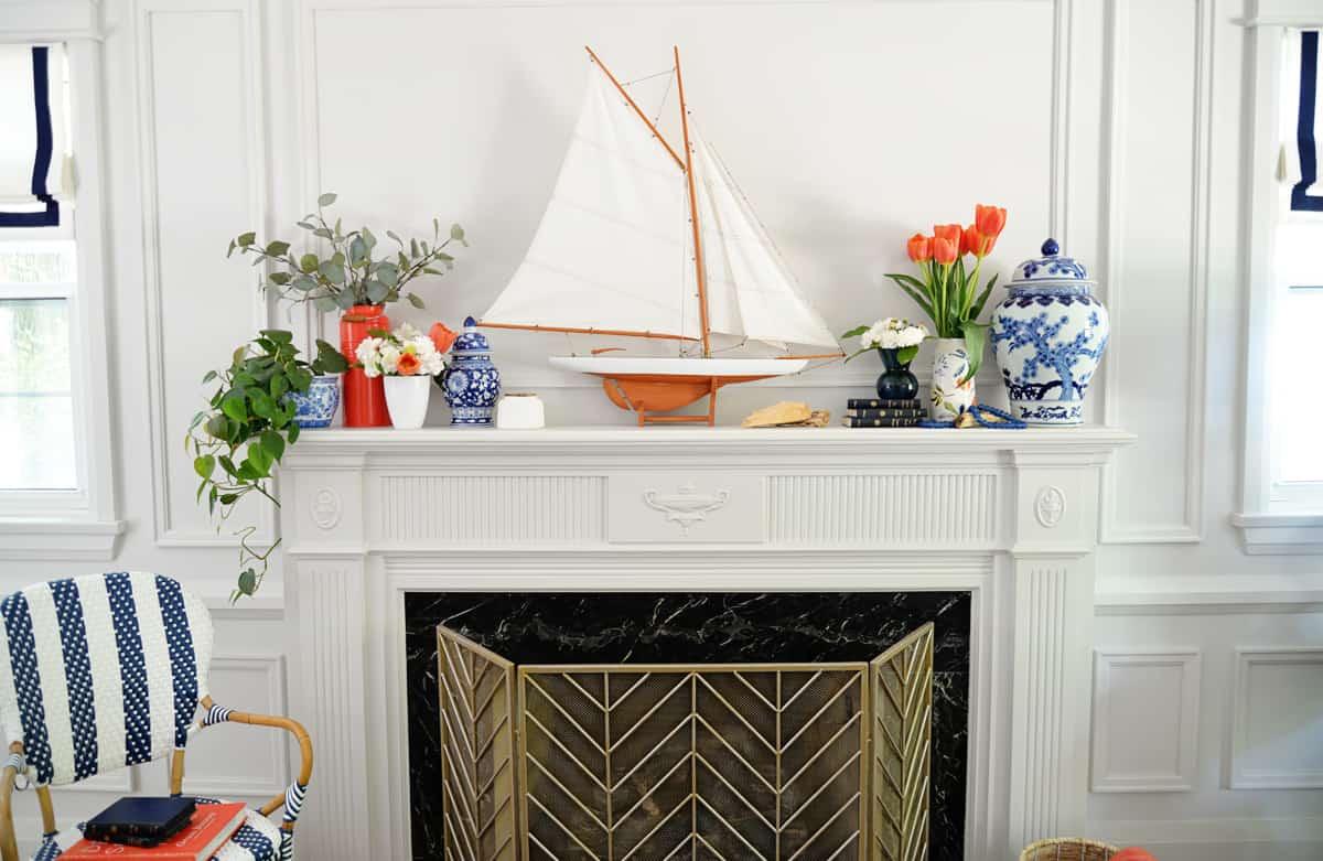 colorful nautical mantel decor
