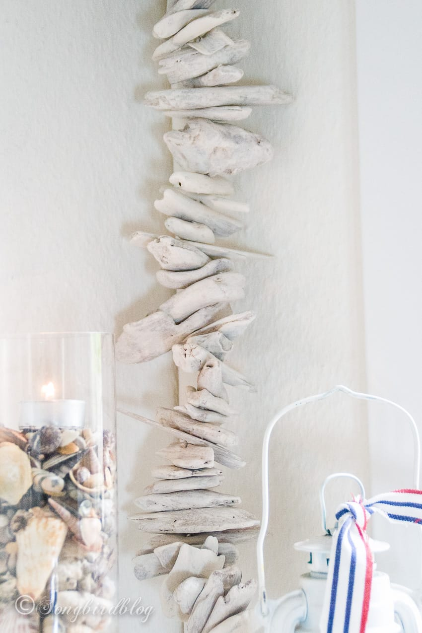 nautical summer mantel with beach theme