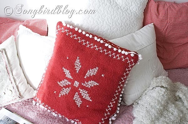 nordic pattern sweater pillow red white