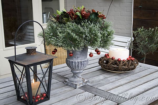 Christmas decorating outdoors on garden table