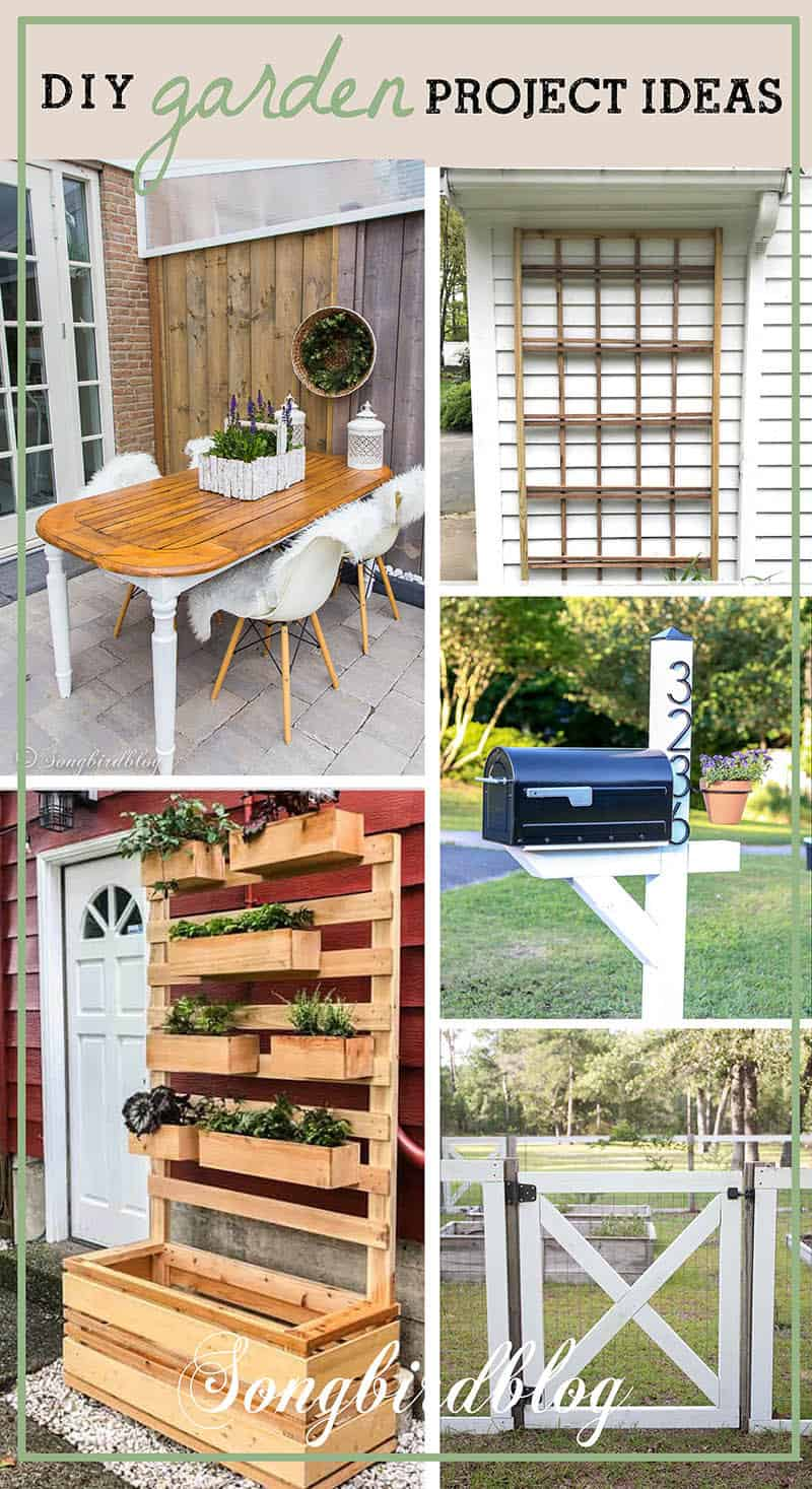 collage image of outdoor diy projects