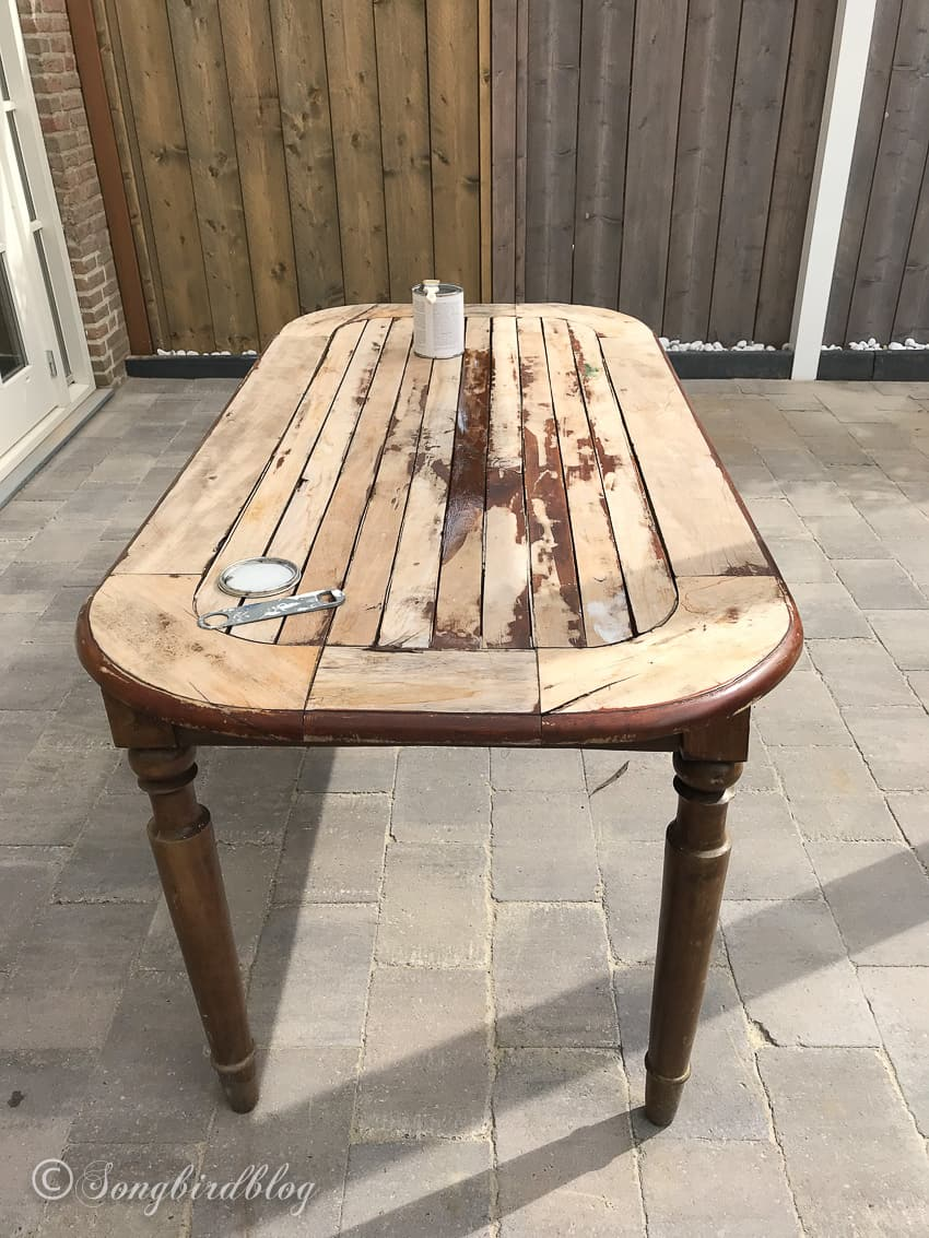 How I Used An Old Wood Dining Table Outside Songbird