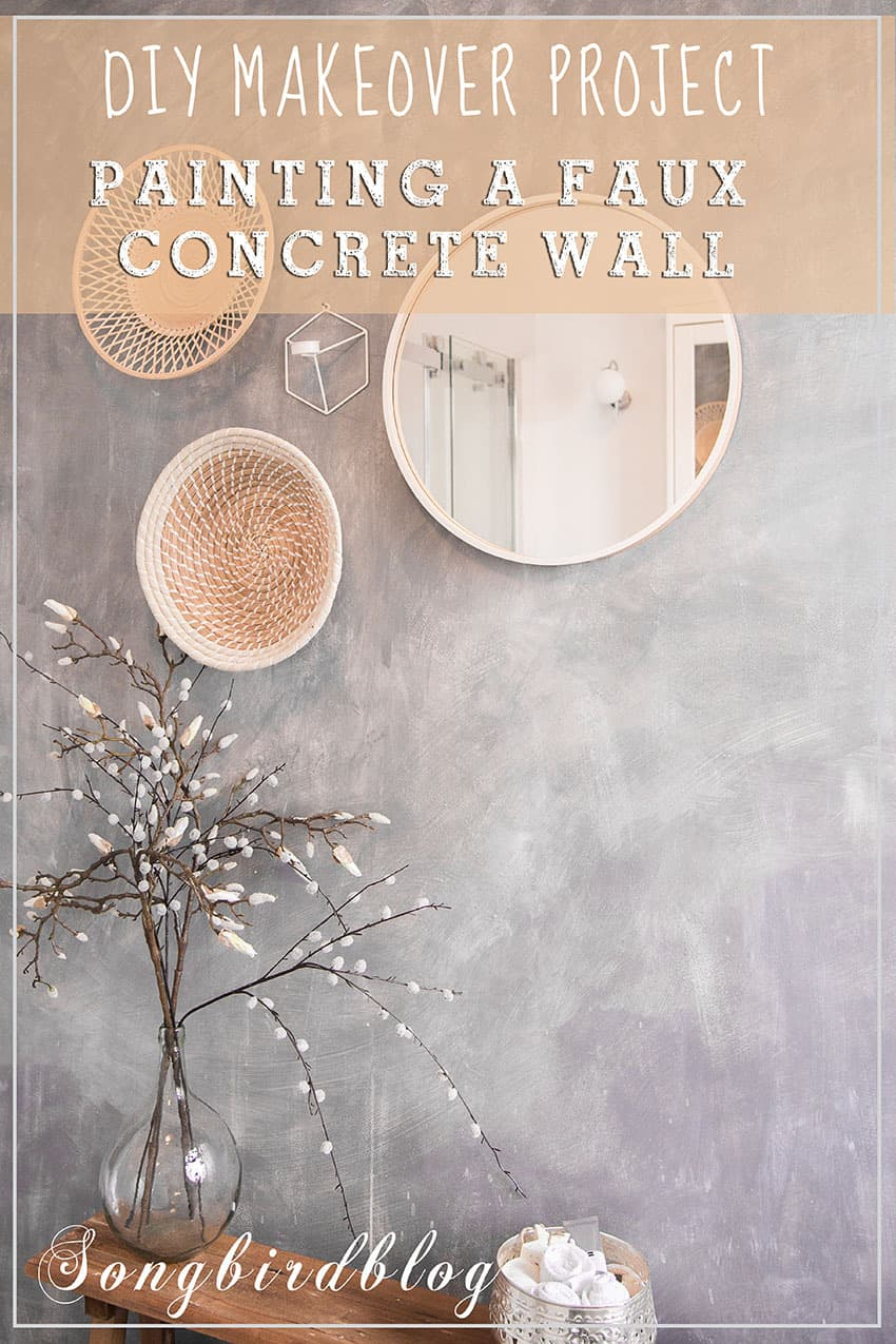 faux concrete wall with round accessories