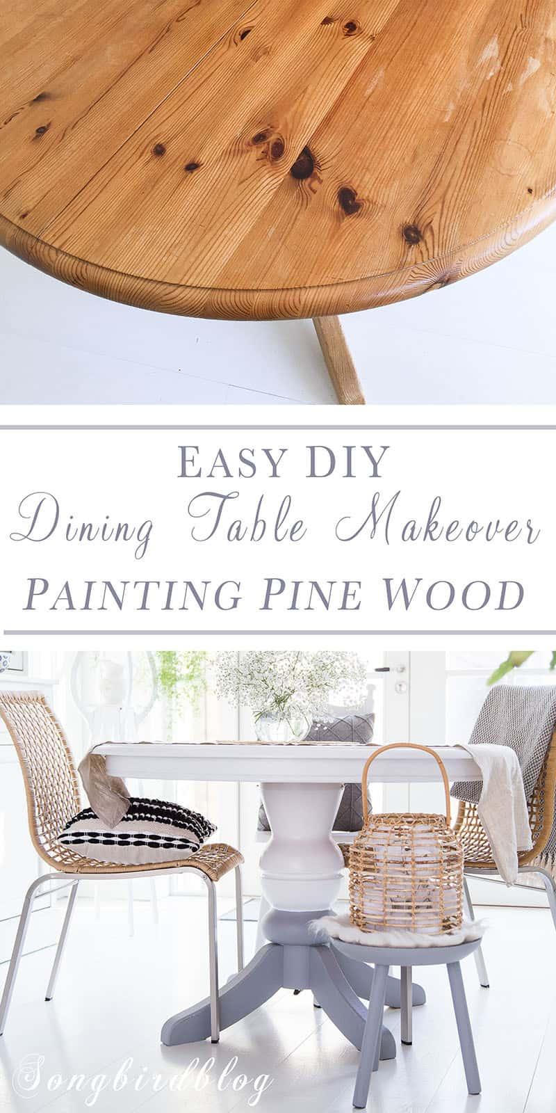 collage image of before and after makeover project pine dining table