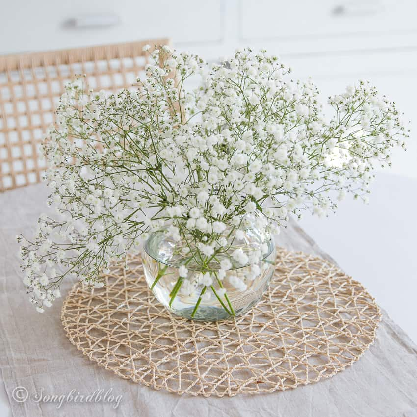 White baby's breath flowers in a clear vase.