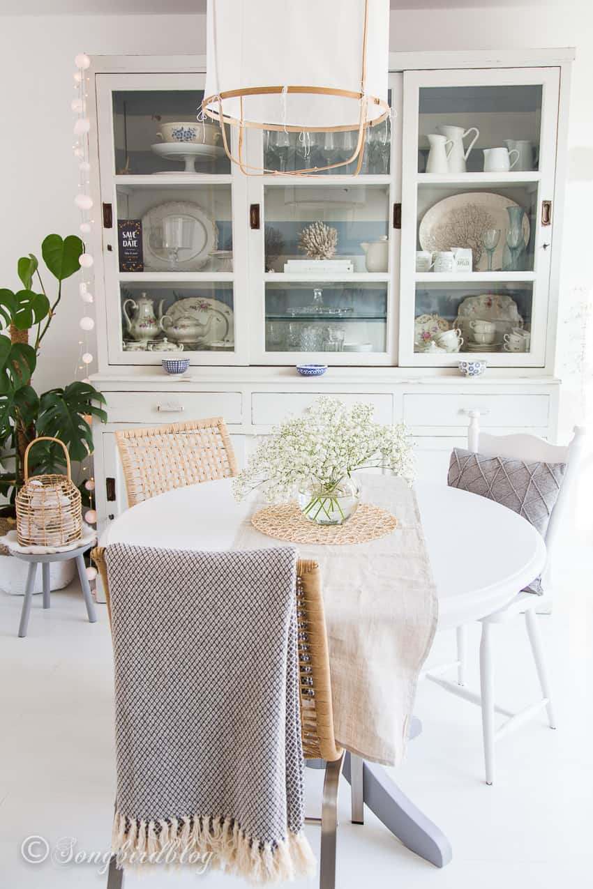 Round white painted dining table