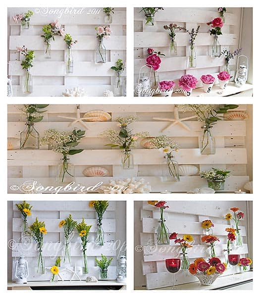 changeable pallet wood mantel project with flowers