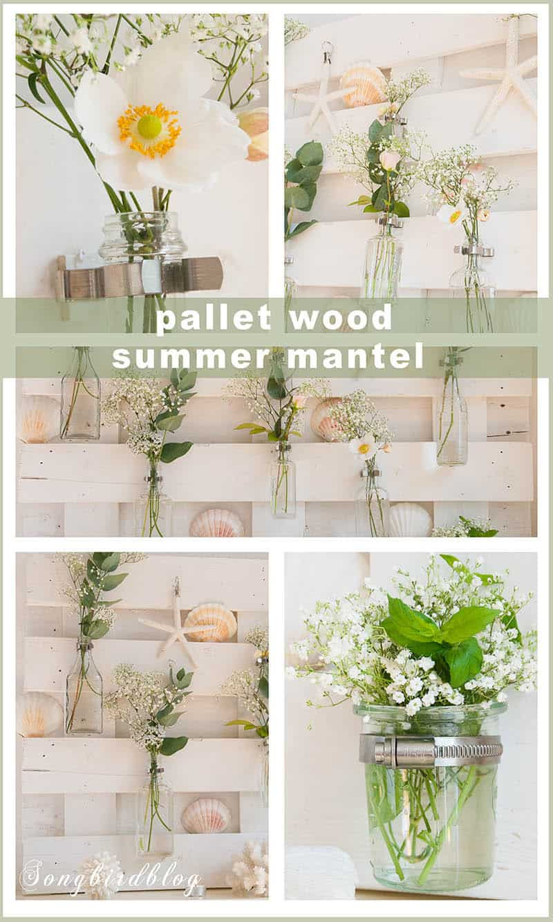 pallet wood summer mantel with beach theme collage