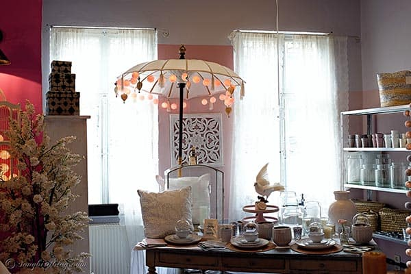 parasol with colorful lamps home decor store Villa Smilla