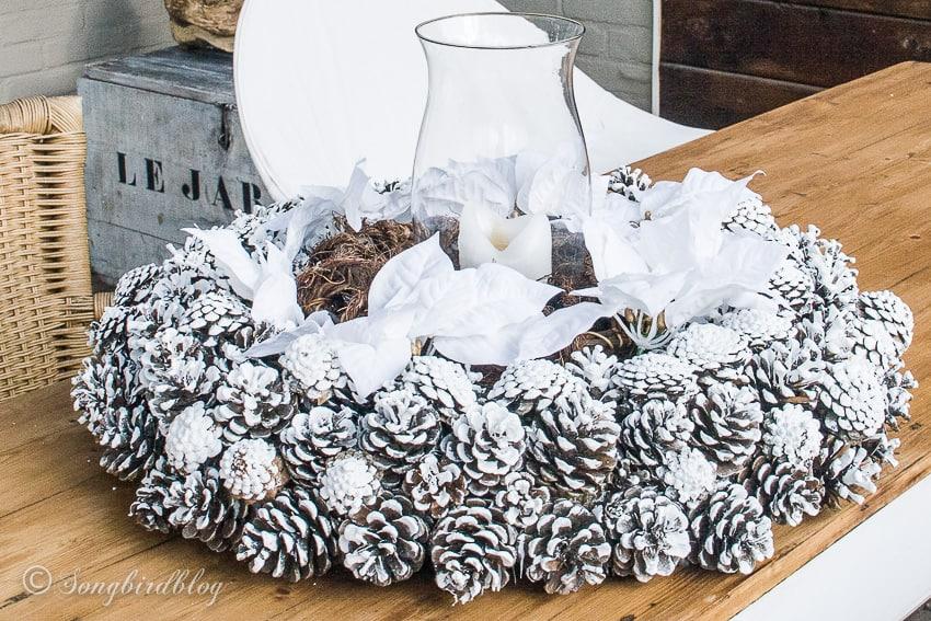 Pinecone Christmas winter wreath centerpiece