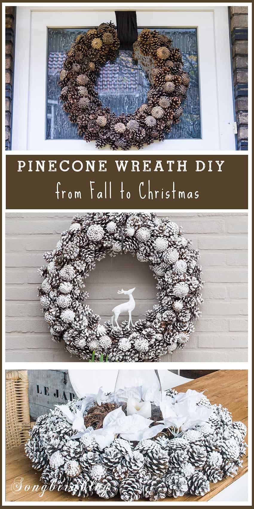 Fall and Christmas pinecone wreath diy