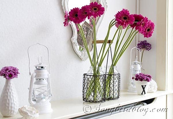 pink Gerbera mantel decoration