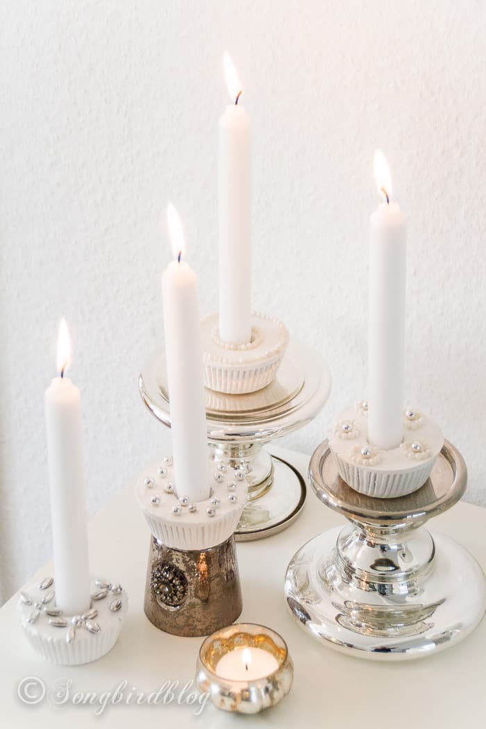 Make these plaster cupcake candle holders