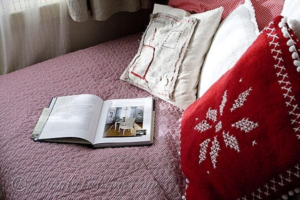 red and white winter pillows