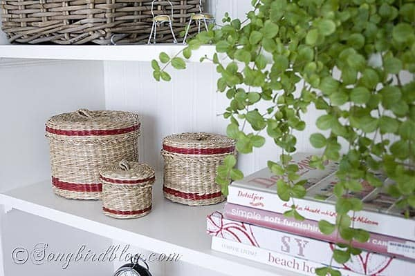 red striped wicker baskets