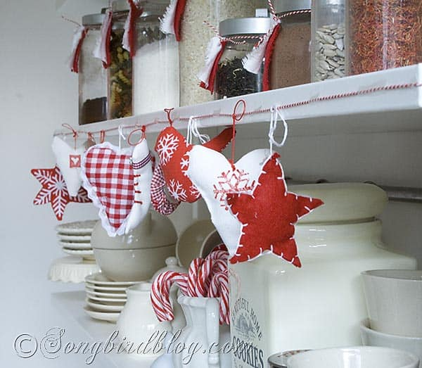 fabric ornaments garland Christmas kitchen