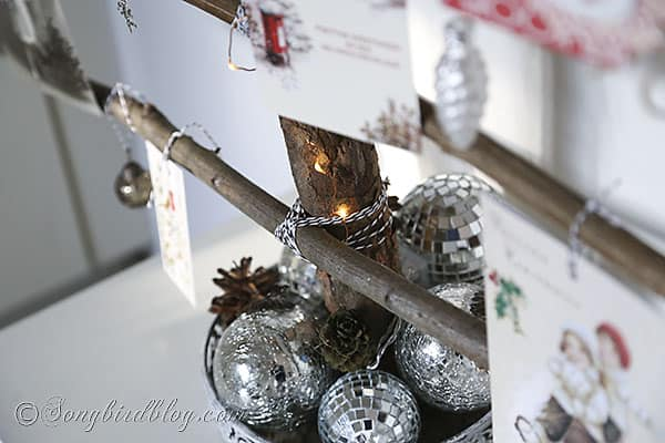 homemade Christmas tree branches display Christmas cards (2)