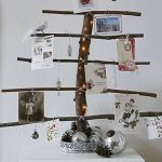 Rustic Christmas card display tree.