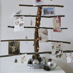 homemade Christmas tree branches display Christmas cards (1)